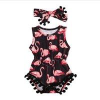 Baby Girl Ropa Flamingo Impreso Niño Plazo DIEADA DIEJOS 2PCS Conjuntos Niños Sin mangas Jumpsuits Tassel Recién nacido Ropa de escalada YW4063-