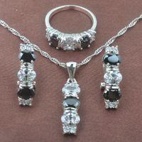 Black Stone White Zircon Women's Silver Color Jewelry Sets Necklace Pendant Stud Earrings Rings TZ0158