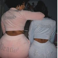 Women Fitness Activewear Two Piece Sets Causal Diamond Velvet Long Sleeve Jacket Coats Joggers Pants Suit Autumn Sport Tracksuit