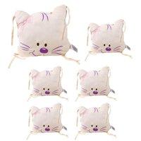 Conjuntos de ropa de cama 6 unids Cuna Cuna Bebé Cat Bumper Cat Meow Soft Algodón Coche Infantil Falda Cuna Cuna Cojín Combinación Otoño Invierno