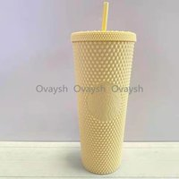 2021 Starbucks Double Rose red Durian Laser Straw Cup 710ML Tumblers Mermaid Plastic Cold Water Coffee Cups Gift Mug