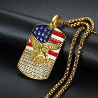 Hiphop American Flag Eagle Pendant 4 Size Stainless Steel Chain Military Soldier Men's Necklace Golden Neck Jewelry Drop