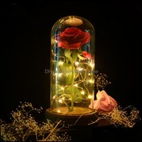 Decorations Festive Supplies Home & Gardeneternal Rose Flower Glass Er Beauty And Beast Led Battery Lamp Wedding Birthday Valentines Party D
