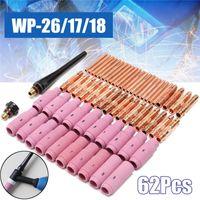 없음 구리 노즐 Pyrex 컵 62PCS TIG 용접 토치 세라믹 기계 WP-26 / 17 / 18 키트