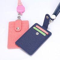 Card Holders Retractable Lanyards ID Badge Holder Leather Porte Bus Pass Case Cover Slip Men Women's Bank Strap Cardholder
