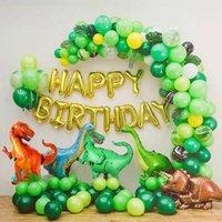 144pcs / set Dinosaur Party Decorations Green Latex Globos Feliz cumpleaños Balloon Dino Theme Decoración de cumpleaños Suministro de fiesta 210610