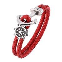 Bracelets de charme Bracelet en cuir rouge Hommes Bijoux Fashion Anchor Anniversaire fête de fête BB0179
