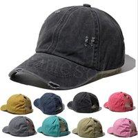 Boné de beisebol de rabo de cavalo rasgado laço-tintura lava algodão chapéu de chapéu Leopardo camuflagem ao ar livre sunscreen snapback db312