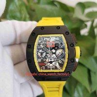 Классические часы высочайшего качества 50 мм х 44 мм RM011-FM RM 011 NTPT углеродное волокно желтые резиновые полосы прозрачные механические автоматические мужские мужские часы наручные часы