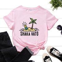 Women's T-Shirt Graphic Tee For Women Cotton Print T Shirts Short Sleeve Crew Neck Summer Tops Female Clothes Shaka Beach Tree Travel Surf