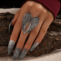 Angel Wing Metal Cluster кольца для женщин Панк геометрический сплав ретро крыльев шарм пальца кольцо готические винтажные серебряные украшения