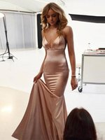 de soirée de mariage Sexy Prom Evening Dress Spaghetti Backless Sweep Train Simple Stain Mermaid Occasion Red Carpet Party Gowns robe