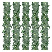 Decorative Flowers & Wreaths 5 Pack Artificial Eucalyptus Garland With Willow Leaves Greenery Vines For Wedding Home Party Garden Decoration