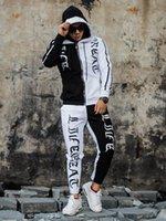Men's Tracksuits Autumn 2 Pieces Running Tracksuit Men Black White Patchwork Sweatshirt Cardigan Sports Set Gym Clothes Zip Up Training Suit