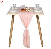 Gorgeous Chiffon Tavolo Runner Pollici Doccia da sposa romantica Doccia da sposa Baby Shower Birthday Party Torta Tavolo Decorazioni GWB8429