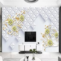 Wallpapers Custom Large Mural 3D Wallpaper Stylish Modern Luxury Abstract Pearl Ornament Geometric Space Bedroom TV Wall Decor 5D Embossed