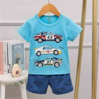 Boys Dinosaur Pyjamas Kids Cotton clothing Shark Pajamas For Children Infant Suit T-shirts Short Sleeves Baby Soft Sets 210729