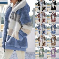 Women Casual Loose Long Sleeve Jackets Outerwear Winter Warm Plush Furry Womens Fashion Brand Designer Patchwork Zipper Pocket Hooded Coats