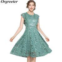 Повседневные платья Orgreieter Зеленое кружевное платье 2021 Мода Лето raffled o-шеи Цветок Крюк на коленях