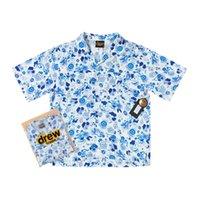 Herren Casual Hemden Drew House Maskottchen Blaue und Weiß Porzellan Cloud SmileyDesigner Höhe Straße Kurzarm