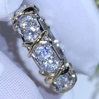 Cluster Rings Cross 10K Gold 4mm Lab Diamond Ring 925 Sterling Silver Engagement Wedding Band For Women Men Party Drop Jewelry