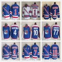Mens New York Rangers Hockey Jerseys 10 Ron Duguay 1 Eddie Giacomin 4 Ron Greschner 7 Rod Gilbert 77 Phil Esposito Vintage Jersey