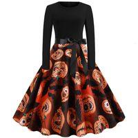 Halloween women's h6119 round neck long sleeve pumpkin head printed ribbon Hepburn skirt