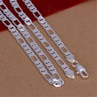 Wholesale High Quality Mens 6MM Flat Chain Silver Color Necklace Fashion Jewelry Women Men Wedding Gift N032 Chains