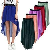 Setwigg Sommer Böhmischen Stil Dip-Saum elastische Taille Hohe Lange Falten Asymmetrische Chiffon Röcke 15 Farbe 210325