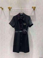 النساء اللباس قميص لربيع وصيف أبلى عارضة نمط مع إرسال إلكتروني سيدة فساتين سليم حزام مطوي تنورة زر سستة تمثال نصفي قمم