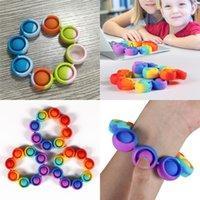 Antistress Silicone Party Favor Engraçado Pop Reliver Stress Brinquedo Arco-íris Pulseira Fidget Sensory Brinquedos Adultos Crianças 2883 Q2