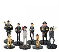 8шт / набор аниме одно целое действие цифры Luffy Zoro Sanji Nami Robin Franky Hancock Chopper черный костюм PVC кукла в штучной упаковке модель цифры игрушки