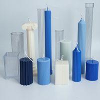 9 stks PMMA Plastic Kaars Mallen Cilindrische Mold Column Simple Vintage Pijler Stick DIY Geurende Kaarsen Maken Mal