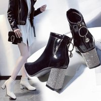 Boots Square Toe Short Woman 2021 Fall Winter Shoes Women High Heeled Rhinestone Chunky Heel Female Booties Large Size