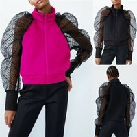 Fashion Spring Autumn Ladies Women's Slim Jackets Chic Mesh Long Sleeve Coat Zip Up Casual Girl Outwear Jacket