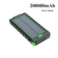 2021 Yeni Güneş Enerjisi Bankası 200000mAh Su Geçirmez Taşınabilir Hızlı Şarj 5 V 2.1A Pil