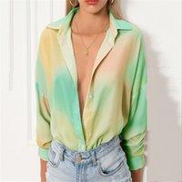넥타이 염색 여성 블라우스 패션 옷깃 목 긴 소매 싱글 브레스트 느슨한 블라우스 캐주얼 여성 디자이너 의류