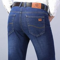 Männer Jeans 2021 Klassische Frühling Herbst Stil Business Casual Advanced Stretch Normal Fit Denim Hose Schwarz Blaue Hosen Männer