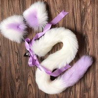 Colored fox tail and anal set ears butt plug adult toy
