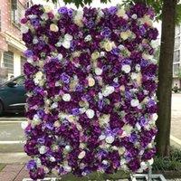 Dekorative Blumen Kränze 12 teile / los Künstliche Blume Wand Hochzeit Hintergrund Lila Elfenbein Rose Pfingstrose Rasen Säule Gefälschte Platte Straße Blei Ho