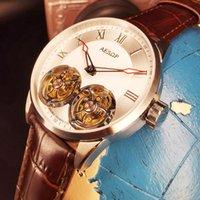 Montre Homme Erkek Saatler Üst Mekanik İskelet İzle Erkekler için DUUBLE TOURBILLON SAPPHIRE Su Geçirmez Saatı