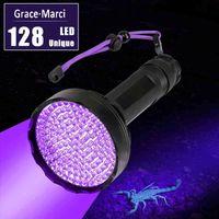 In vendita Super Bright UV Light 395NM 100LED 51LED 128 LED Torcia UV Torcia UV Potente 10W Ultraviolet Lantern per Pet Urine Detect 210322