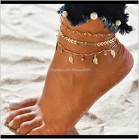 Halhal Bohemian Püskül Halhal Kadınlar Için Yaprak Ok Zincirler Kolye Charm Yaz Plaj Çıplak Ayak Bileği Bilezik Bacak Boho Takı E3ad Qatjz
