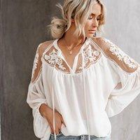 Teelynn Kadın Gömlek Fener Uzun Kollu Dantel Bluz Vintage Çiçek Şifon Seksi Blouses Boho Beach V Boyun Blusa