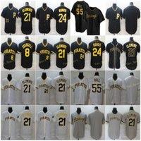 Mens 21 Roberto Clemente Baseball Jerseys 8 Willie Stargell 24 Barry Bonds 55 Josh Bell Stitched Cool Base FlexBase 팀 화이트 그레이 블랙