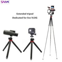 Tripods SANYK Foldable And Portable Pography Tripod Vloging Kit With Selfie Stand Microphone Led Fill Light Action Camera Accessory