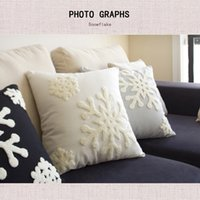 Christmas Decoration Sofa Cushion Northern Europe New Snowflake Embroidery Cover Home Printed Pillowcase Without Pillow Cloth High Texture Backrest Peach Skin