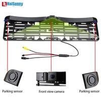 سيارة الرؤية الخلفية كاميرات استشعار وقوف السيارات Haisunny 3in1 الأوروبية روسيا لوحة ترخيص الإطار لديها استشعار الفيديو السيارات * 2 + سيارة كاميرا أمامية دون ل