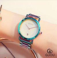 Guou assistir mulheres colorido elegante relógio feminino relogio feminino cinta de aço calendário tempo moda senhoras baía kol saati