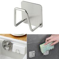 Kitchen Rack Stainless Steel Sponge Holder Self Adhesive Sink Sponges Drain Drying Racks Accessories Storage Organizer DHL Free